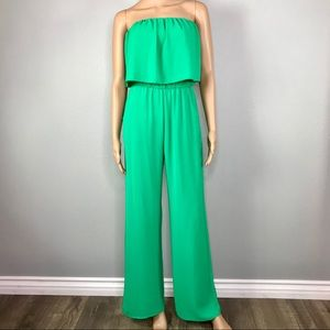 Bright green Pocketed strapless jumpsuit